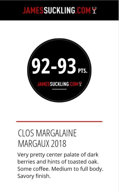 2018 primeur clos margalaine 92 93 J Suckling