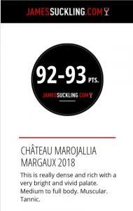 2018 primeurs marojallia 92 93 J Suckling