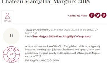 2018 primeurs marojalia J ANSON 94